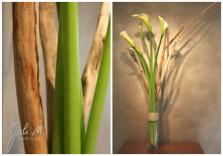 Bouquets d'arums et bois flottés. ©Gali M Livraison de fleurs à Toulouse