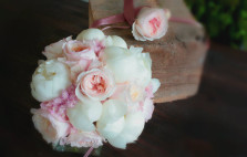 Roses David Austin, pivoines et astilbe, douceur de printemps. Fleuriste mariage Toulouse